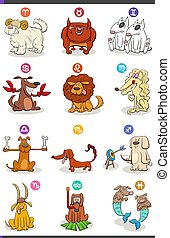 字符, 喜劇演員, 狗, 集合, 星象, 十二宮圖簽名