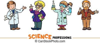 字符, 集合, 科學, 矢量, 職業, 有趣