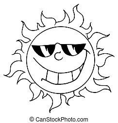 字, 卡通, 太陽, 吉祥人
