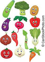 字, 卡通, 蔬菜, 漂亮