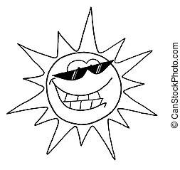字, 太陽, 涼爽, outline