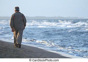 孤獨, 海灘, 步行, 人, 更老