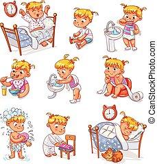 孩子, 卡通, 日報, 集合, 活動, 日常工作
