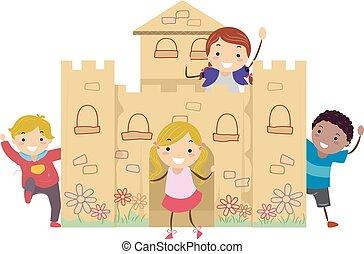 孩子, 城堡, 紙板, 插圖, 玩, stickman