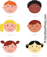 孩子, 多文化, 頭, 漂亮