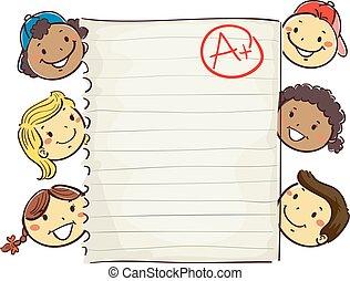 孩子, 大約, 等級, 顯示, 紙, 加上, 棍