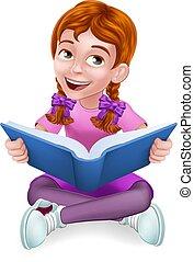 孩子, 女孩, 卡通, 字, 書, 閱讀, 孩子