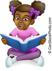 孩子, 女孩, 卡通, 書, 閱讀, 孩子, 黑色