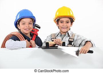 孩子, 工具, 玩, 工匠