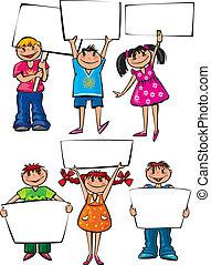 孩子, 招貼, 板, 藏品, 空白