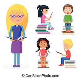 孩子, 握住, 書, 全長, 白膚金髮, 閱讀, 女孩
