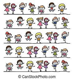 孩子, 摘要, 圖畫, 手, 卡通, 愉快