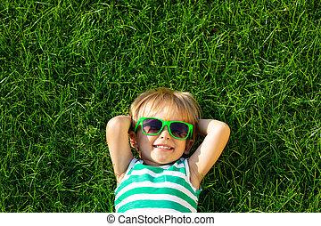 孩子, 春天, 躺, 愉快, 草, 綠色