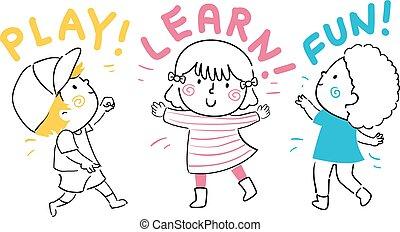 孩子, 樂趣, 學習, 插圖, 玩