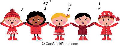 孩子, 歌, 多文化, caroling, 微笑, 唱, 愉快