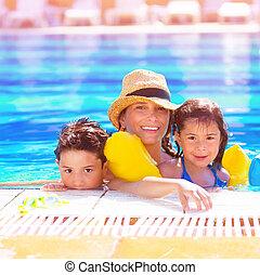 孩子, 母親, poolside