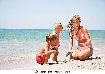孩子, 海灘, 二, 母親