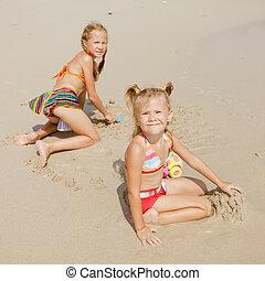 孩子, 海灘, 二, 玩