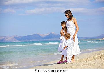 孩子, 海灘, 母親