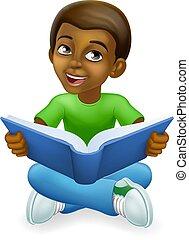 孩子, 男孩, 卡通, 書, 閱讀, 孩子, 黑色