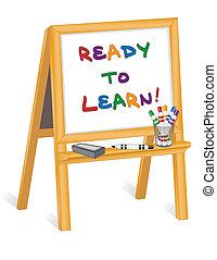 孩子, 畫架, 准備好, 學習