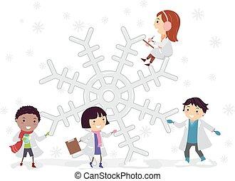 孩子, 雪花, stickman, 科學實驗