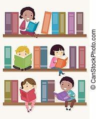 孩子, stickman, 架子, 插圖, 書, 閱讀