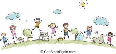 孩子, stickman, 社區