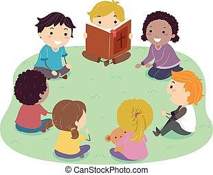 孩子, stickman, 閱讀, 插圖, 聖經