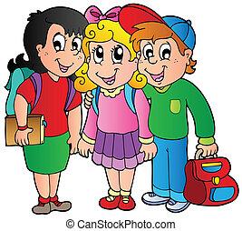 學校孩子, 三, 愉快