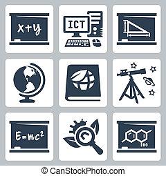 學校, 代數, 幾何學, 圖象, 生態學, 生物學, 天文學, 矢量, 物理學, 地理, 化學, ict, 主題, set: