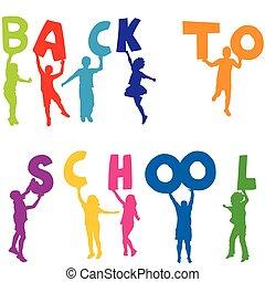 學校, 信件, 背, 黑色半面畫像, 藏品, 孩子