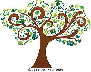 學校, 圖象, 樹, -, 背, 教育