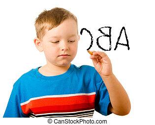 學校, 概念, 字母表, 背, 寫, 孩子, 教育