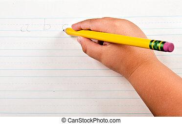 學校, 概念, 孩子的, 字母表, 教育, 向上, 背, 紙, 手, 關閉, 寫