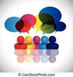 學校, 概念, 辦公室, 孩子, 談話, 矢量, 會議, 或者, 人員