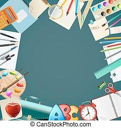 學校, 矢量, items., 背景, 插圖