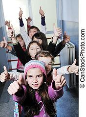 學校, 組, 孩子, 愉快