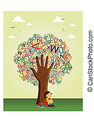 學校, 閱讀, 樹, 手, 學習, 教育