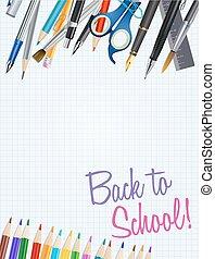 學校, notepad, 背, 插圖, 矢量, supplies., 背景