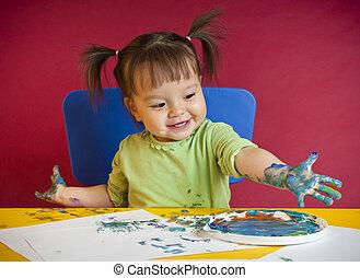 學步的小孩, 畫, 手指