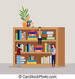學生, 圖書館, 書, 組, 閱讀