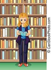 學生, 女孩讀物, 插圖, 圖書館