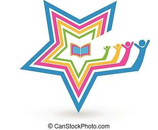 學生, 星, 書, 配合, 標識語