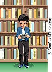 學生, 男孩讀, 插圖, 圖書館