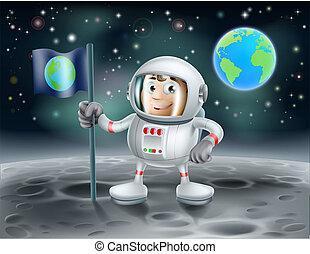 宇航員, 卡通, 月亮