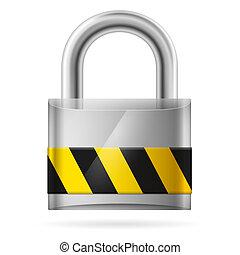安全, 墊, 被鎖, 鎖, 概念