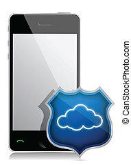 安全, smartphone, 雲