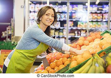 安排, 微笑, 女推銷員, 橙, 超級市場