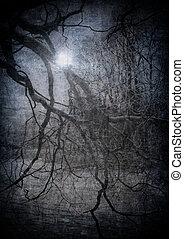 完美, grunge, 圖像, 万圣節, 黑暗, 森林, 背景